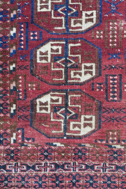 Yomut wedding? rug. Cute piece with good dyes.