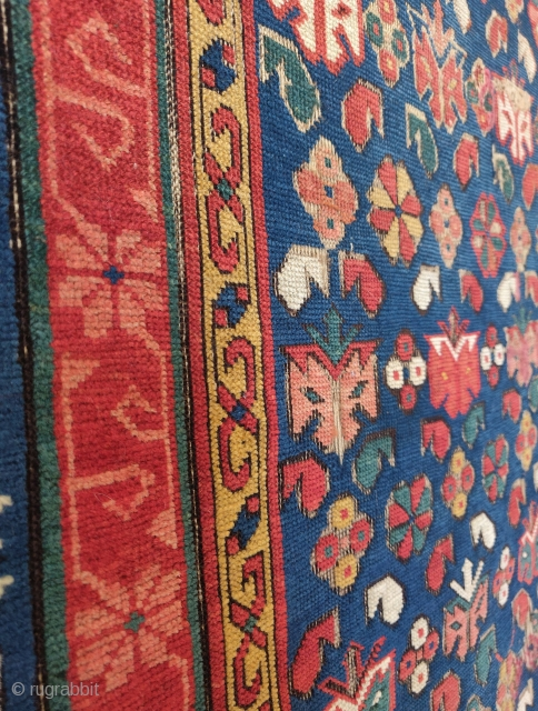 """Zeichur Kuba rug with ultimate color. Older than most (all?) Thin and delicate handle. 3'4""""x6'2"""""""