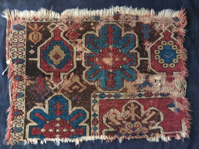 corner fragment from a so-called 'Tibetan Group' or 'Golden Triangle' rug. Woven in the Northwest Persia/ Eastern Anatolia border region sometime around 1700 or slightly before. Likely sourced in Tibet within the  ...