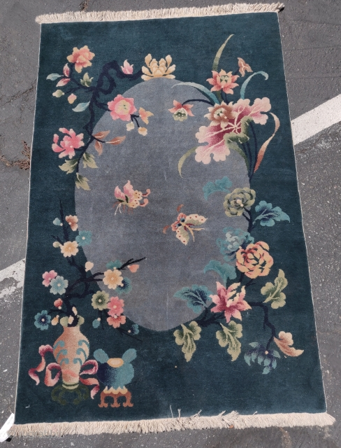"""Art Deco Chinese rug with foliage and butterflies. 3'8""""x5'10"""""""