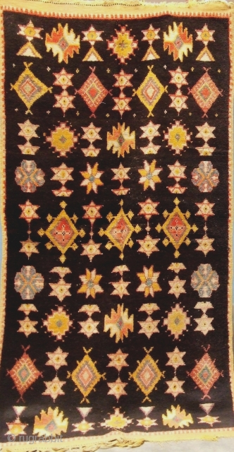 Rf 77-Ait Ouaouzguite Berber rug ( Ait Znaga north ) wool, natural colour, 190 x 97 cm, circa 1910s
