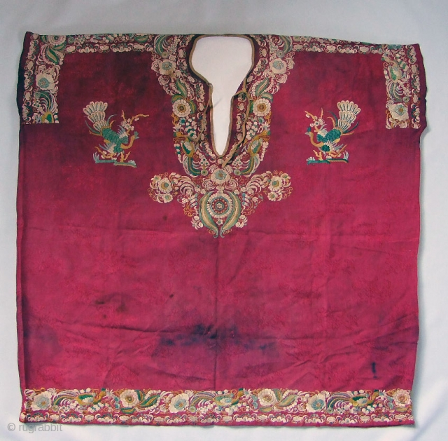 Parsee girl's shirt (jubla). India, 19th century silk embroidery. These textiles were made in Surat, Gujarat, India, by Chinese workers for the wealthy Parsee community in Bombay.
