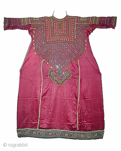 Aba (abho). Banni District, Kutch, Gujarat, India. 108 x 122cm.Silk and tiny mirrors, 19th century.These very fine embroideries were made by the Jat. They immigrated several hundred years ago from Baluchistan and  ...