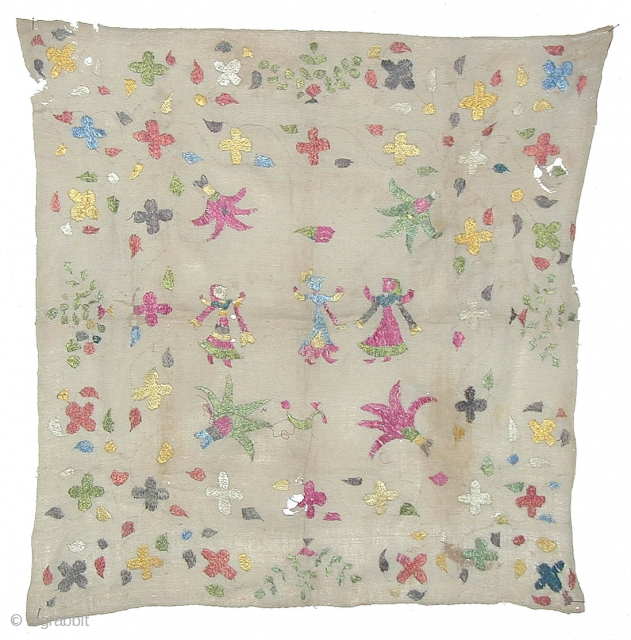 Chamba Rumal --- Himachal Pradesh, North India --- Cotton, Silk ---  60cm x 62cm --- Embroidered --- 19/20th century --- I have more pieces in my collection, please ask for information  ...