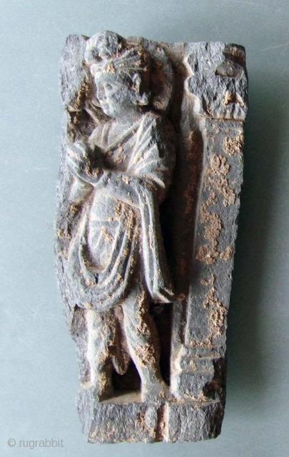 Standing Boddhisattve with folded hands Schist Gandhara 2-3 century  18cm high I have more pieces on my website www.m-beste.de