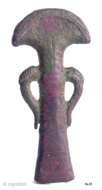 Handle of a Mirror Baluchistan Kulli Period, 3000-2300 BC Copper with nice patina 12cm Please ask for more information or pictures Please visit my website www.m-beste.com