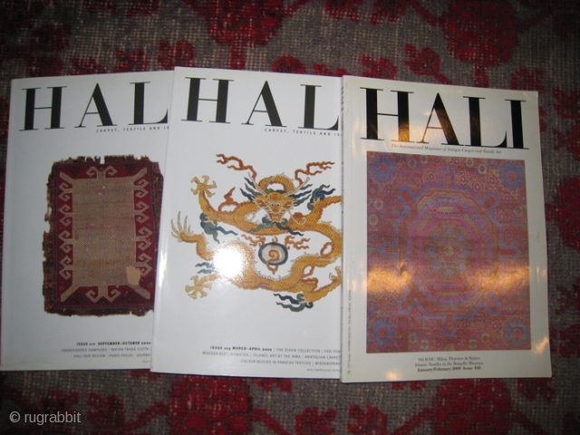 Hali Magazine, the authoritative journal of rugs, carpets and weavings.  36 volumes between Issues number 53 to 112, about 12 issues missing.  Inquire for specific issues.  $ 10 each.