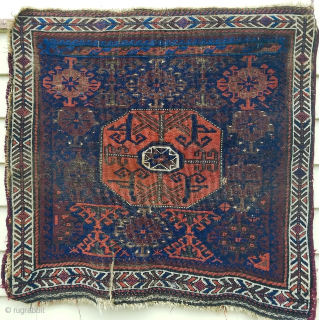"""Baluch - about 28"""" x 28"""" as found with interesting field panel at upper end."""