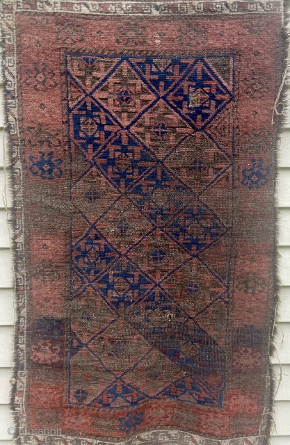 """Baluch - about 28"""" x 51"""". As found. Small patch, oxidation, wear.  Retains part of original ends and secondary border.  Interesting main border.  Would benefit from wash"""