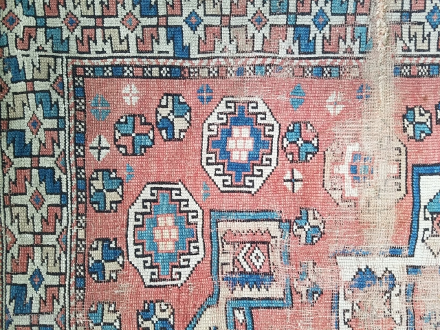 """Bergama - about 65"""" x 65"""".  Lots of wear but still nice example of early rug."""