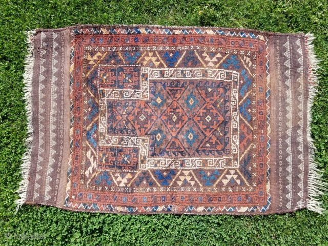 "Baluch prayer rug - about 37"" x 54"" AS FOUND.  Complete with meaty pile, floppy handle, nice kilim bands, scattered moth bites, and dirty."