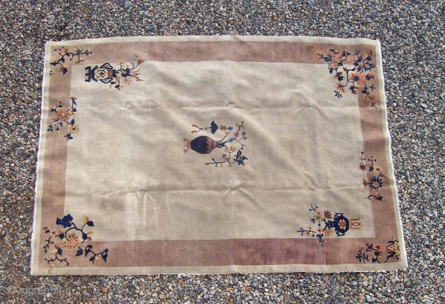Chinese small carpet 6 x 8.8 decorative and pleasing coloration, even wear, slight stains, scattered moth damage.  $475/BO plus shipping