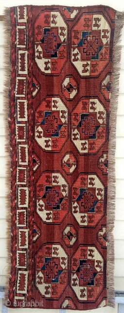 "Turkman main carpet fragment - nice example.  about 58"" x 20""."