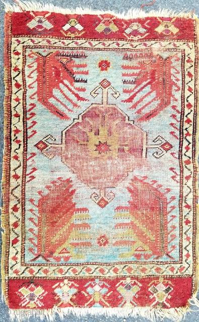 "Anatolian yastik about 20"" x 30"". Amazing blue field. 'As found' condition."