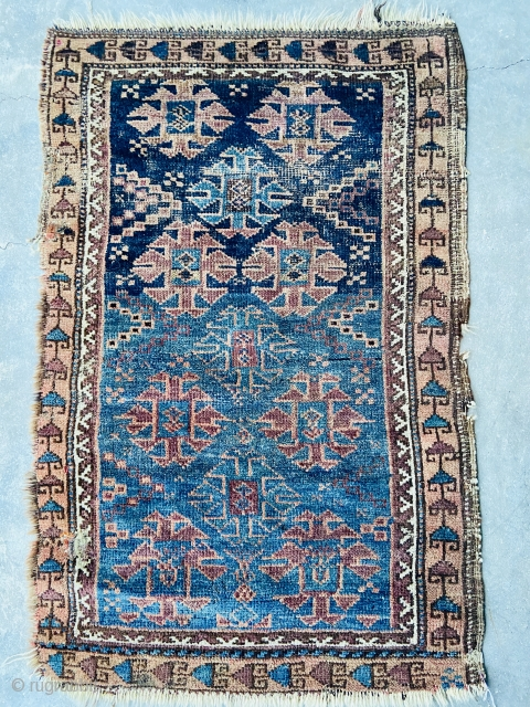 """Baluch - about 37"""" x 23"""" with nice blue ground. As found Condition with some edge gouges. Floppy handle with some original Ed finishes remaining."""