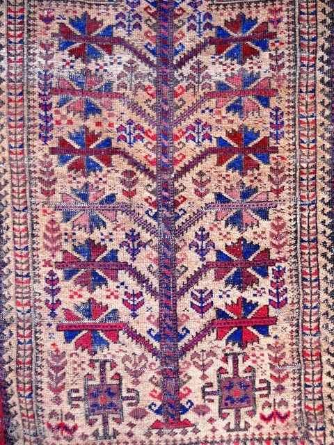 Baluch prayer rug - 4.9 x 3.2, interesting lower border, kilim bands mostly there, crude side cord repair, oxidation, nice field design elements. In need of cleaning.