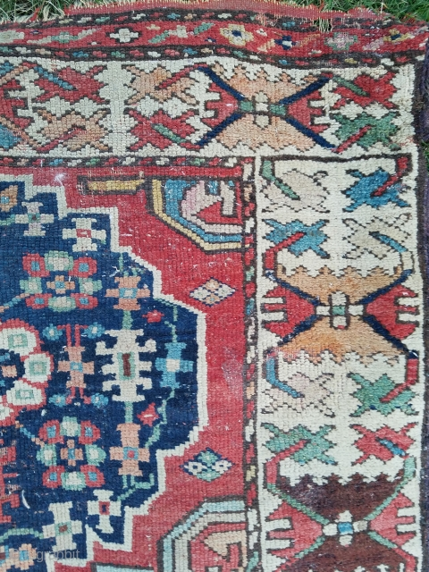 Measuring about 2.11 x 15.9 - Beautiful but blitzed early runner trimmed on its sides to fit hallway with some sections of older added sidecords.  Still retains some of original ends.  ...