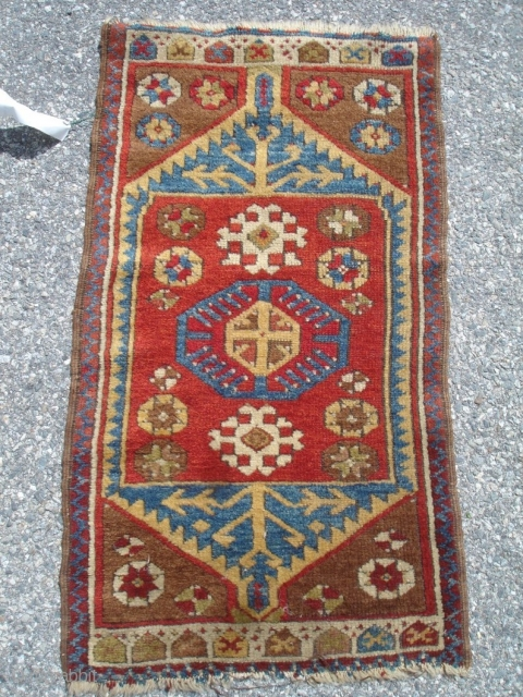 1' 9'' x 3' 2'' - c. 19th Century Yastik - Good condition & pile - Good colors. $425