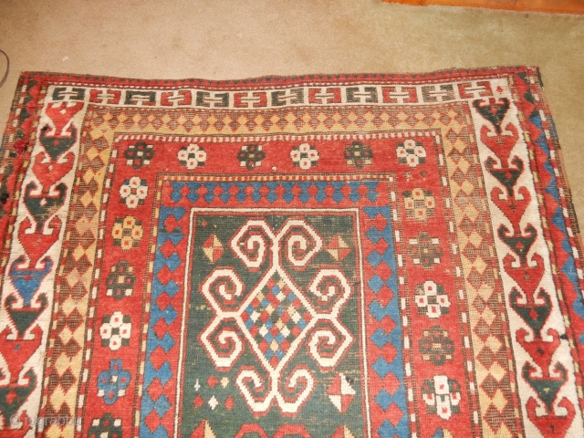 LARGE- 5 X 7 FT - NEARLY FULL PILE KAZAK- FIX THE TEAR AND MAKE $$ 