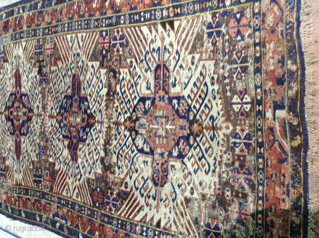 Antique kuba carpet, 258x155cm, shabby chic fresh country house find, knotted fringes.