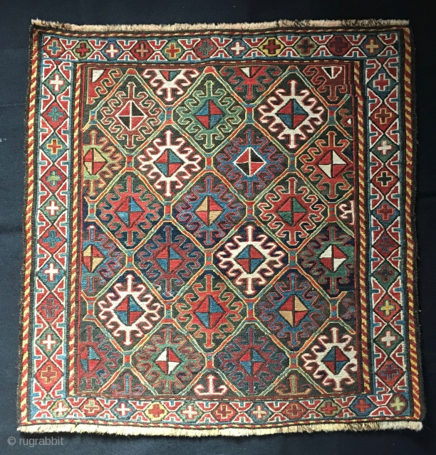 Outstanding, Beautiful, classic Shahsavan sumack bag face. Cm 60x60 ca. End 19th c. All good colors. In very good cond. More pics and infos on rq.