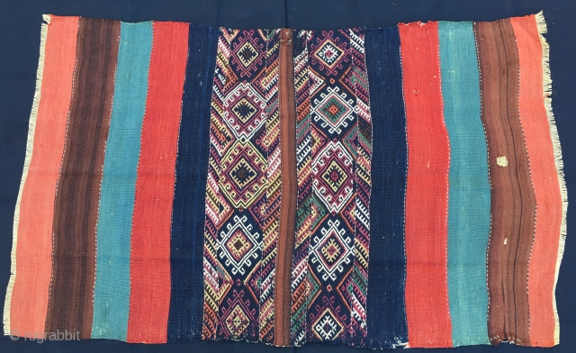 Eastern Anatolia open cuval/storage bag. Cm 97x152. End 19th c. Great colors, orange, brown, lapis green, madder red dark blue.... Lovely sumack work in the middle. Good condition, one hole to report  ...