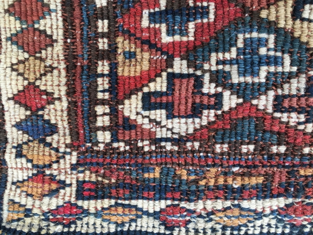 Wonderful Shahsavan reverse sumack bag. Cm 46x46. End 19th/early 20th c. Antique, beautiful, proportioned, with great natural saturated colors. Just in after long journey from a collector in the Middle East. In  ...
