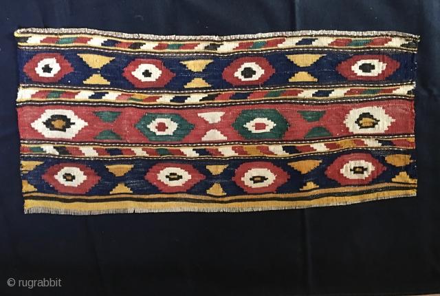 Caucasian flat weave mafrash long panel. Cm 46x96. Most probably Kazak, Bordjalu village. Macro pattern with lovely colors. In good condition.