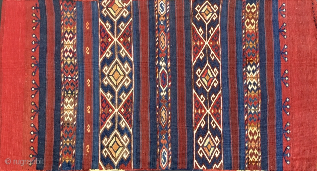 Wonderful Karakecili grain bag/cuval. Western Anatolia, Balikesir area. Cm 70x130. Late 19th century. Out a Turkish collection. Fantastic natural saturated colors. In mint condition except for 2/3 tiny almost invisible repairs. Museum  ...