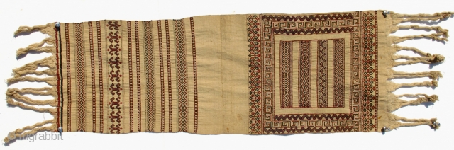 Dayak people of Borneo. Klapong Sirat, decorative ends of a sirat,  long wrap around loin cloth. Sungkit technique. Two different design panels woven together, to be cut in the middle and   ...