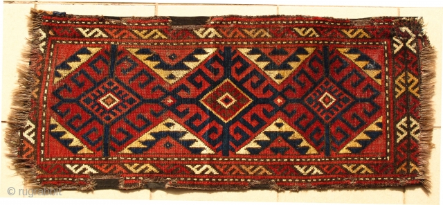 Central Asian weaving, most likely Kyrgyz Chavadan. Smooth shiny wool. Mounted on a brown cloth. 100 x 43 cm Condition as shown.