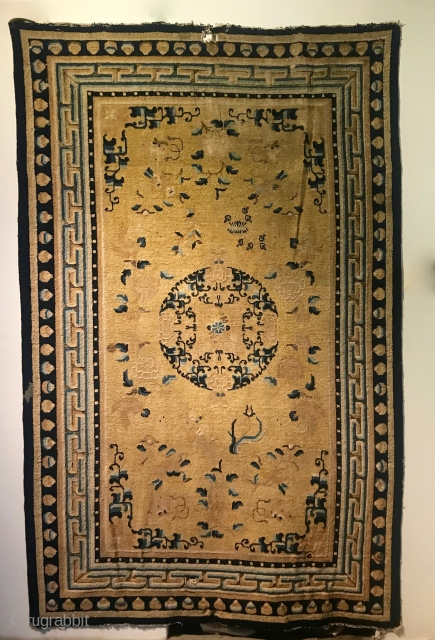 Ninghsai Carpet, 104 in x 66 in (264 cm x 168 cm),  mid 1800s, all natural dyes, full to low pile, photos do not do justice to this piece.  Additional  ...