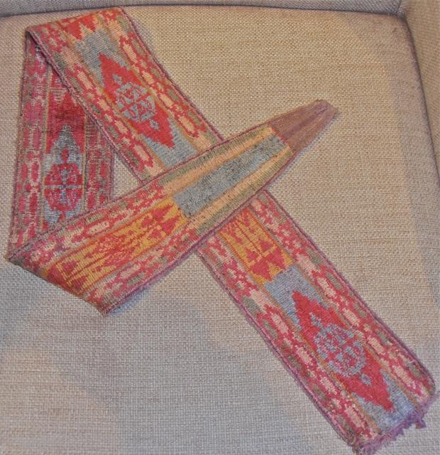 Uzbek double side,silk velvet belt,size 107 x 9 cm