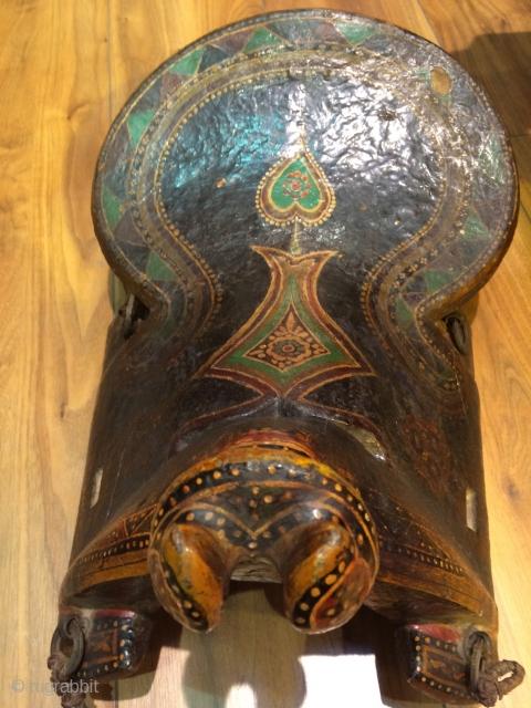 Uzbek, wodden painted horse saddle.19 th.century.size 50 x 30 cm