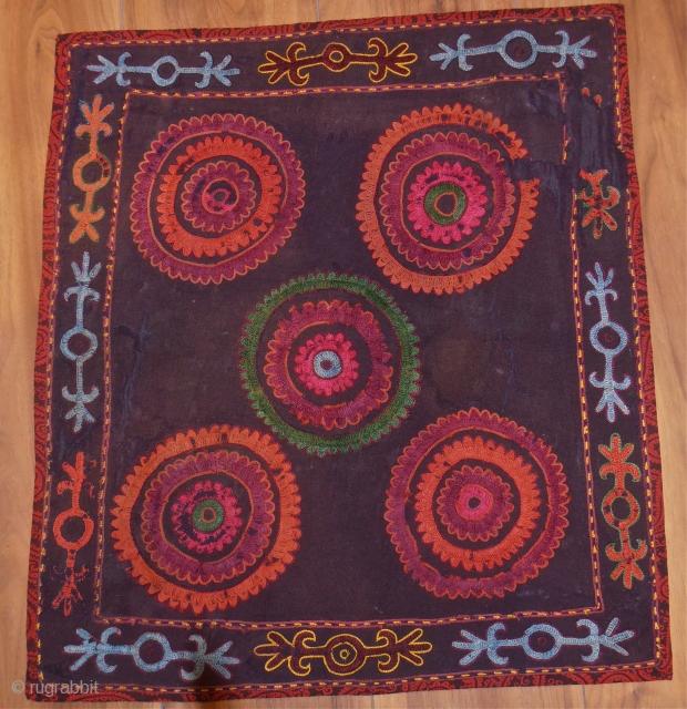 kirghiz embroidery 64 x 70 cm.silk on wool.a bit tired.