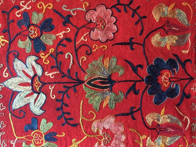19.th.century Uzbek Lakai mirror bag.size,54x50 cm.silk embroidered on wool .