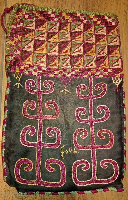 Turkmen,Chodor tribe little bag.late 19th century .silk embroidery on cotton. size 25 x 15 cm