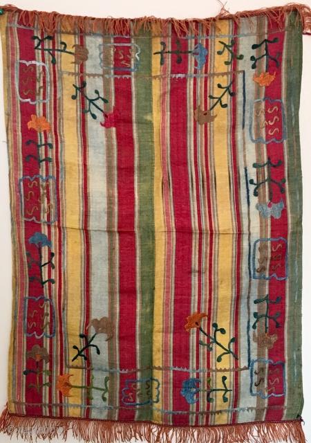 Uzbek striped woven little suzani embroidery 50x70cm