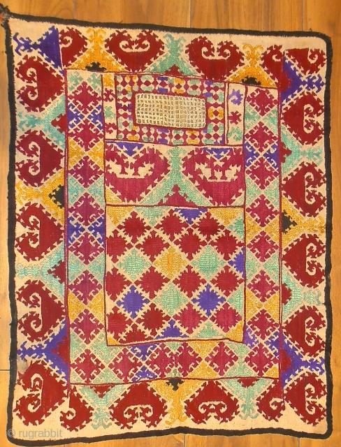 early 20th.century Tajik veil.size 76 x 60 cm.silk on linen.
