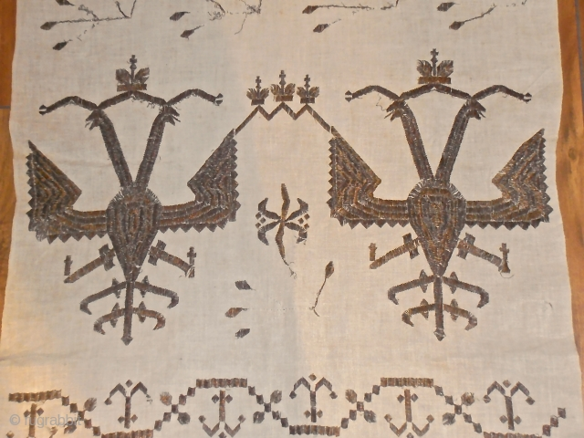 19 th.century Greek Sash.size 220 x 47 cm.metal threat on silk