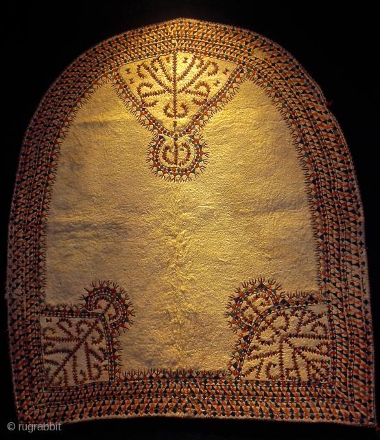 19th.century Turkmen felt horse cover.wool appliqué and embroidery.size 113 x 102 cm