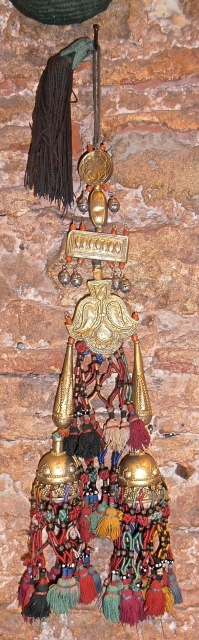 19 th.century Kirghiz golded silver amulet 60 cm tall..
