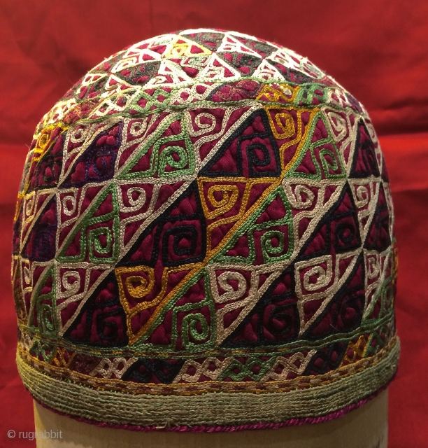 Turkmen Chodor embroidery hat.16 cm high  20 diameter