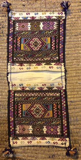 Persian silk embroidery on cotton bag,size 17 x 39 cm