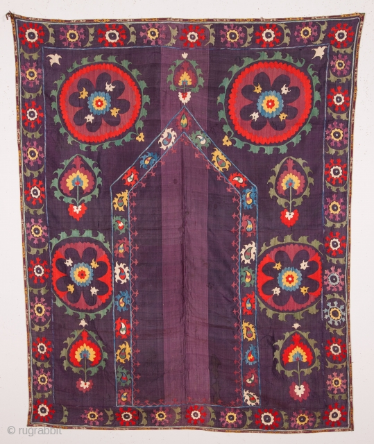 silk on silk uzbek suzani with lovely colors.size 120x 150 cm.late or mid.19th.century