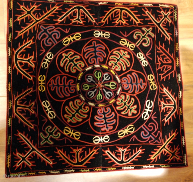 Khyrgiz embroidery, silk embroidery on velvet.size 75 x 73 cm,late 19.th