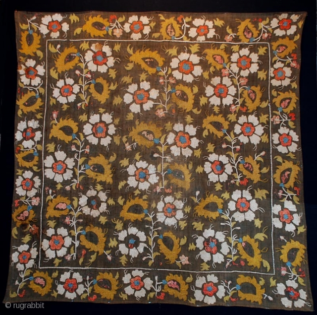 early 19th century Armenian embroidery,silk on cotton,size 95 x92 cm