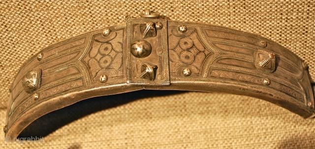 Caucasian silver belt buckle,size 30 x 6 cm