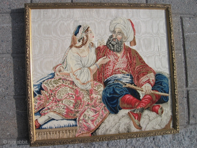 European (French) 19 th. c. oriental theme. Silk on silk