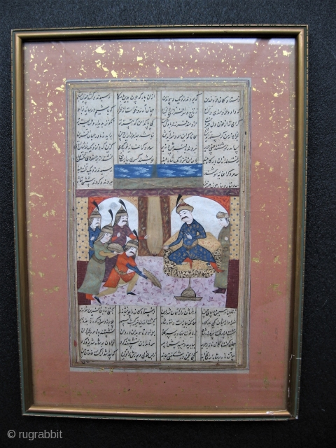 Persian antique illustrated poetry, miniature painting 17thc?